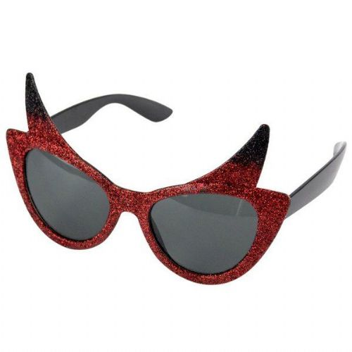 Party Glasses Devil & Horns & Glitter Halloween Satan Lucifer
